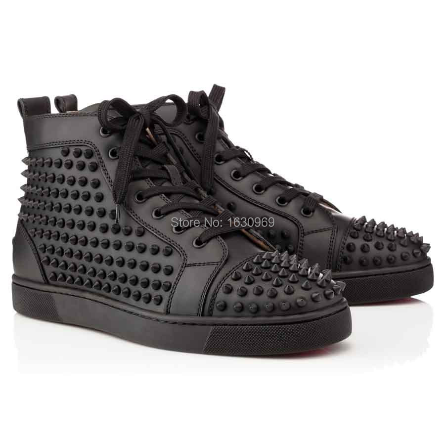 2014 classic red bottoms mens louis spikes black leather