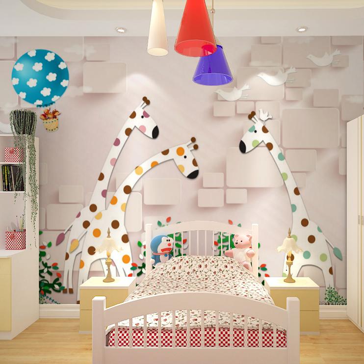 bedroom living room cartoon pink giraffe hot air balloon wallpaper