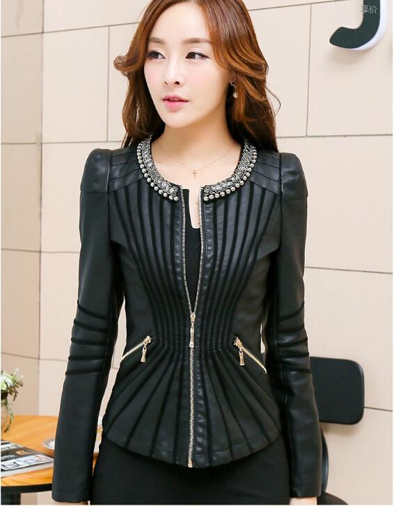 Кожа куртка женщины весна и осень кожа пальто женщины короткая приталенный мотоцикл кожа одежда женское верхняя одежда черный
