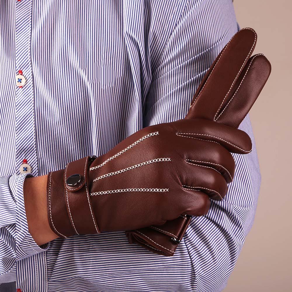 Winter sheepskin Italian leather gloves men motorcycle iglove screen touch gloves male brown black sheepskin itouch gloves(China (Mainland))