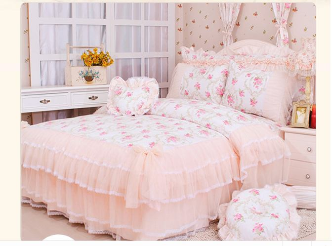 pastoral lace comforter duvet cover queen king size 4pcs princess bedding sets luxury bedspread. Black Bedroom Furniture Sets. Home Design Ideas
