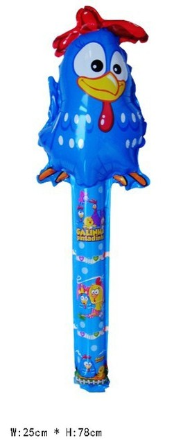 60Pcs Galinha pintadinha Inflatable balloon toys cheer stick cartoon head balloon clappers bangbang stick