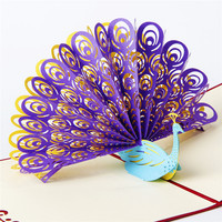 Hollow Creative 3d Stereoscopic Children's Day Greeting Card Birthday Gift Custom Postcard Blessing Small Card Peacock