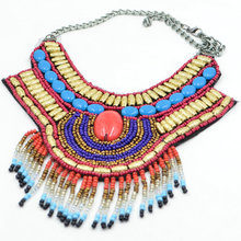 Trendy  Bohemia jewelry Handmade Embroidery Bead Women collar Necklace Ethnic style Statement Necklace Beads Resin Pendant(China (Mainland))