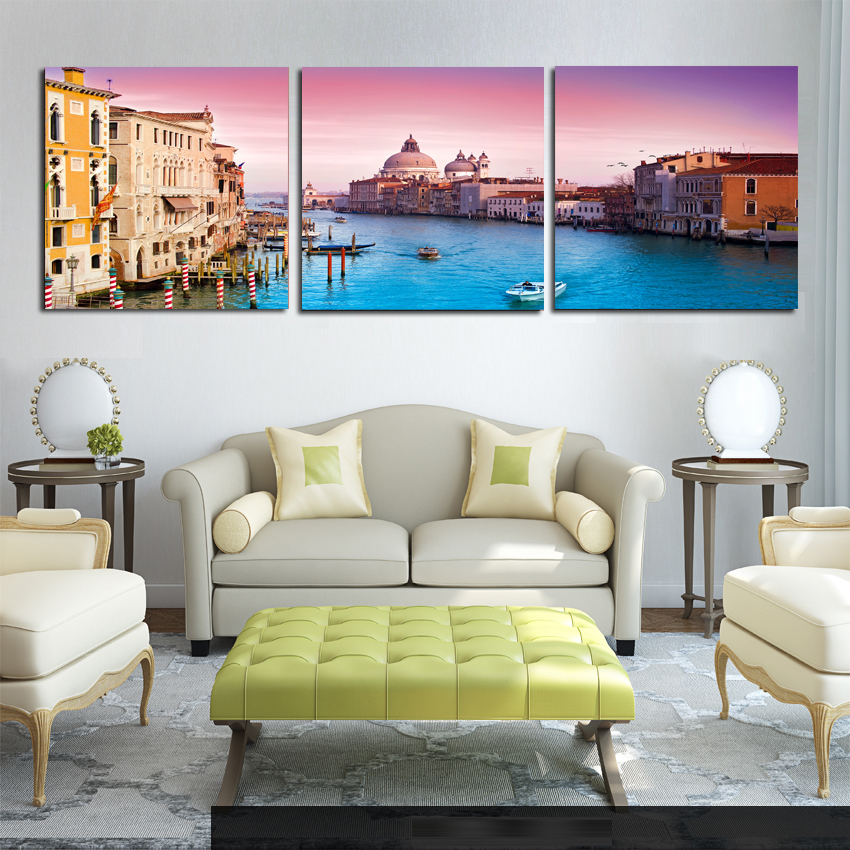 Modern Canvas Painting 3 Pieces Wall Art Italy Venice Landscape Oil Painting Beautiful City River Decorative Pictures Unframed(China (Mainland))