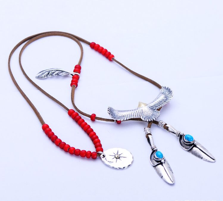 Pendants ox bone 925 silver style takahashi five lang feather new necklace(China (Mainland))