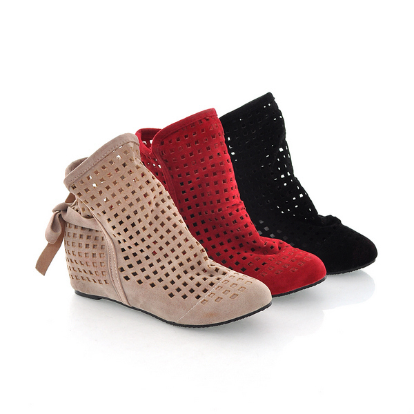 New 2015 Summer Women's Flats Inside Wedges Heels Cutout Ankle Boots Height Increasing Suede Big size Hot sale Cute Flock Shoes(China (Mainland))