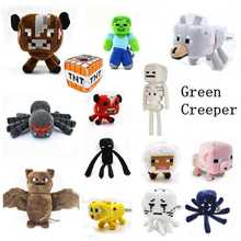 Minecraft Skeleton Ocelot Plush Doll Toys Creeper,Enderman Spider Bat Zombie Steve pig sheep cow wolf Plush Cartoon Doll Toy(China (Mainland))