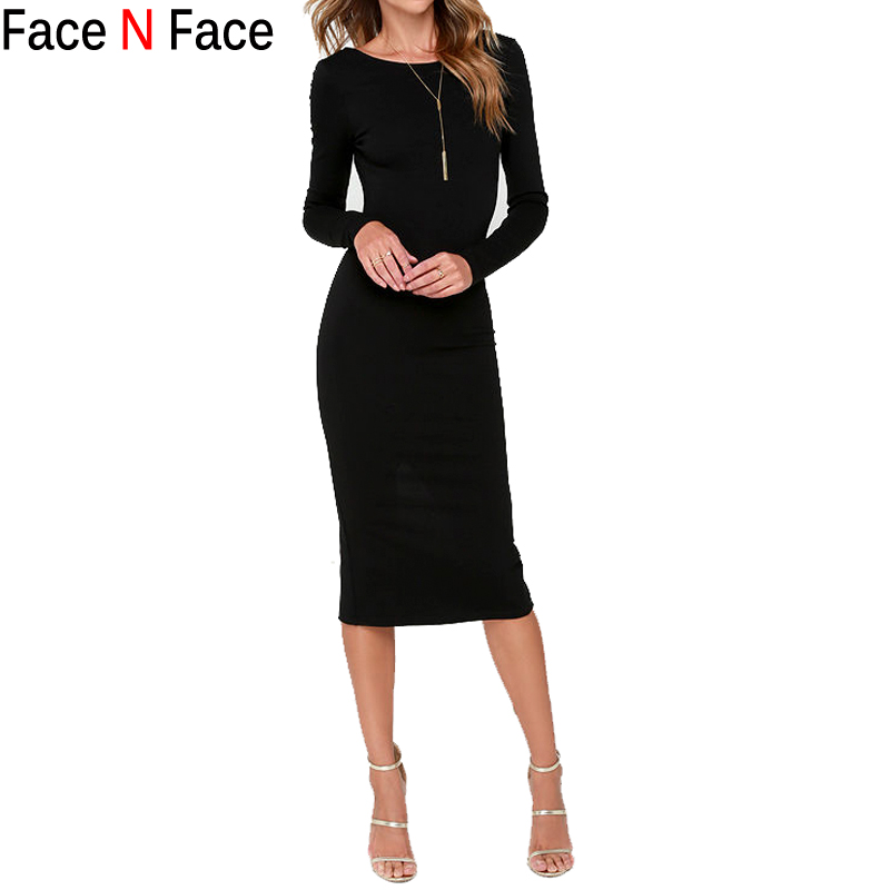 Face N Face Women Dress New 2015 Autumn Winter Fashion Black Vestidos Desigual Sexy Backless Bodycon Sheath Split Pencil Dresses(China (Mainland))