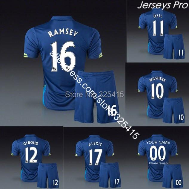 Ozil alexis ramsey giroud santi cazorla wilshere walcott welbeck chamberlain third 3rd blue Soccer jersey uniforms football kit(China (Mainland))