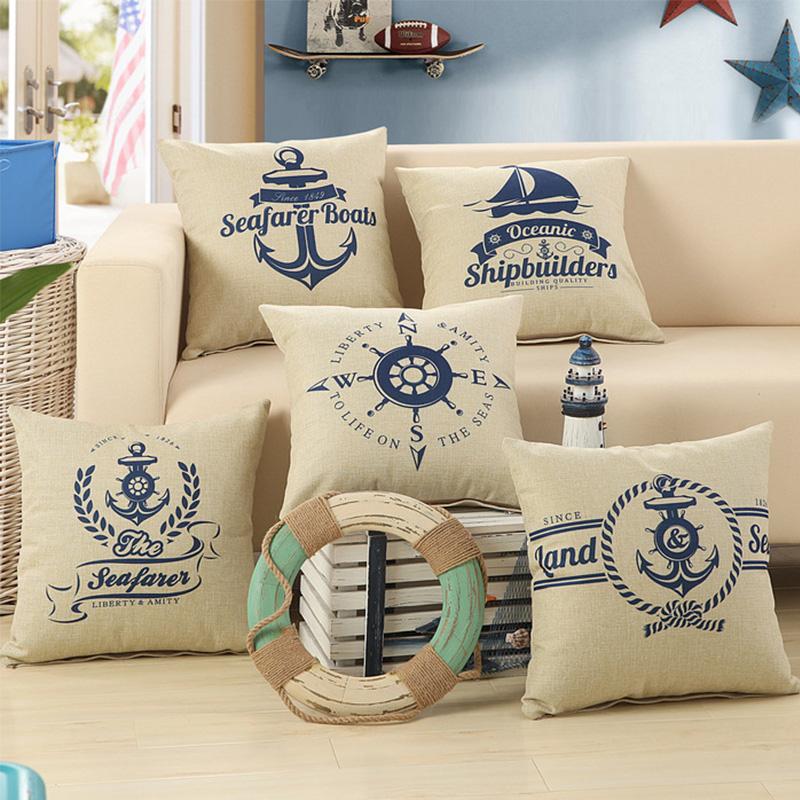 Marine Decoration Boat anchor Patio Nautical Throw Pillow Case Cushion Covers for Sofa Furniture Furnishing Home Decor 45x45cm(China (Mainland))