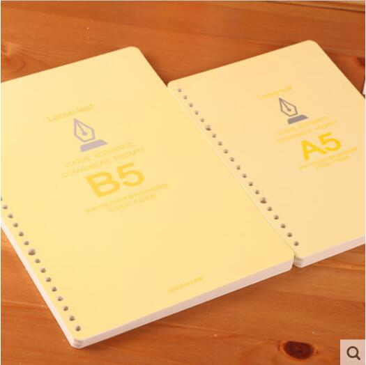 2017 New PASAYIONE Light Yellow Page Inner Page Refill Paper 100 Pages A5 B5 2 Sizes Kawaii Linen Paper For Coil/Spiral(China (Mainland))