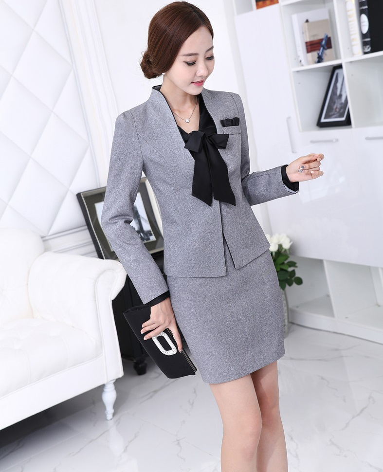New Professional Business Women Suits Novelty Grey 2015 Autumn Winter Jakctes And Skirt Female Ladies Office