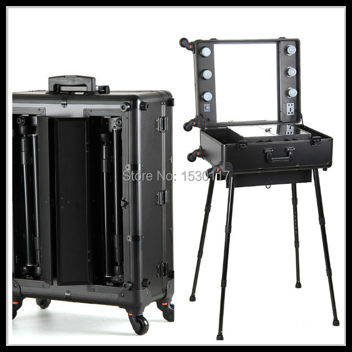 professional makeup trolley with lights aluminum makeup case with light lighted makeup station with Universal Wheels(China (Mainland))