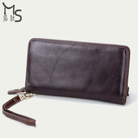 2015 new arrival Men's Clutch Leather day clutches High quality Oil Wax Wallets for men Fashion concise design