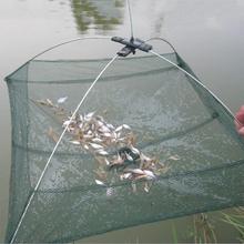 60*60cm Foldable Folding Mesh Nylon Fishing Net Baits Trap Cast Dip Crab Shrimp Net