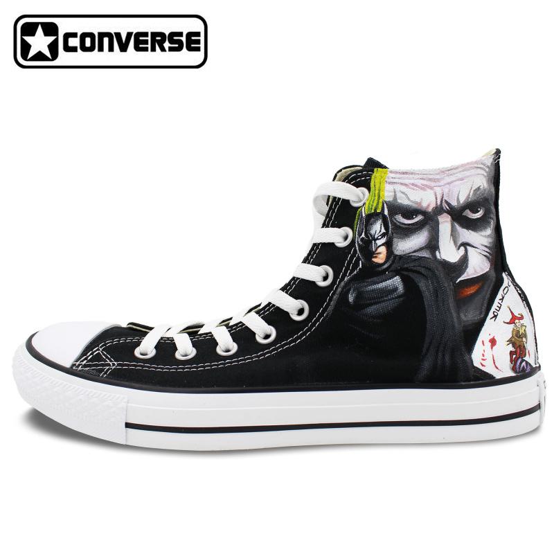 Black Converse Star Men Women Shoes Custom Design Batman Joker Hand Painted High Top Canvas Sneakers Man Woman - WenArtWork Store store