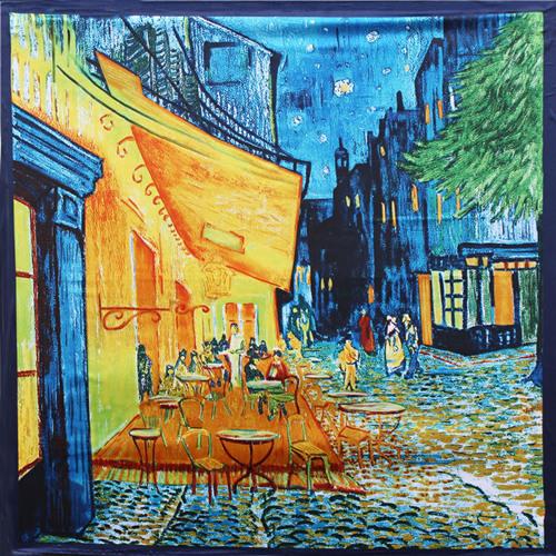 90 см * 90 см 2016 Новое Прибытие Женщины Винсент ван Гог Картина Маслом Coffee house большой размер шелковый шарф женщин платки девушка обертывания НОВЫЙ