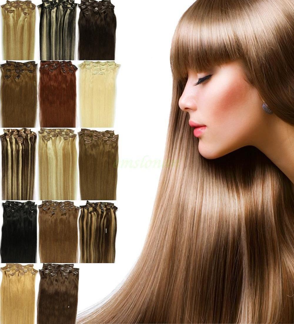 HOT Brazilian Clip In Human Real Hair Extensions Hair Clip Ins 16 inch 20inch 24inch 28inch 100g/7pcs/set 28 Colors<br><br>Aliexpress