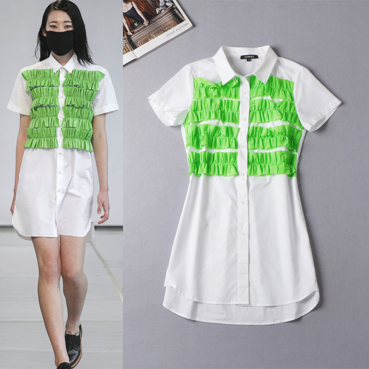 Free Shipping 2015 Summer Runway Short Sleeves Above Knee Appliques Women White Shirt  DressesОдежда и ак�е��уары<br><br><br>Aliexpress