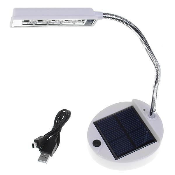 4 LED Desk Table Lamp Emergency Lights Power by Rechargeable Lithium Battery Chrage by Solar Panel or by USB Cable(China (Mainland))