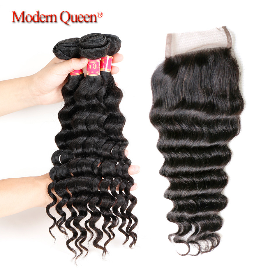 7A Brazilian Natural Wave 3 Bundles with Closure Brazilian Virgin Hair with Closure Brazilian Loose Deep Wave with Lace Closure
