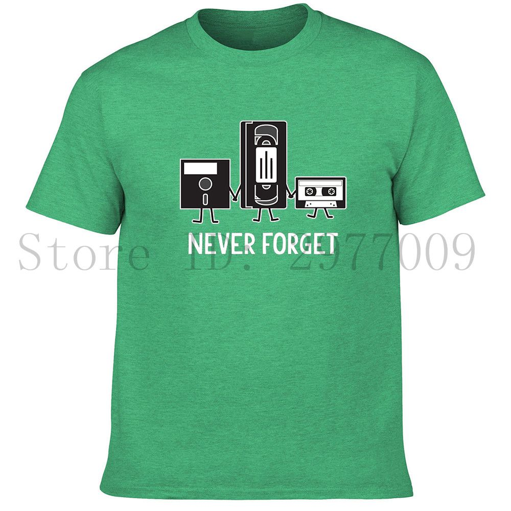 Never Forget Funny Retro Guys Gift Idea Music Mens Novelty Funny T Shirt,forget me not(China (Mainland))