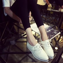 women cute lace up pu leather flat shoes casual female white teenager school flat shoes zapatos de mujer