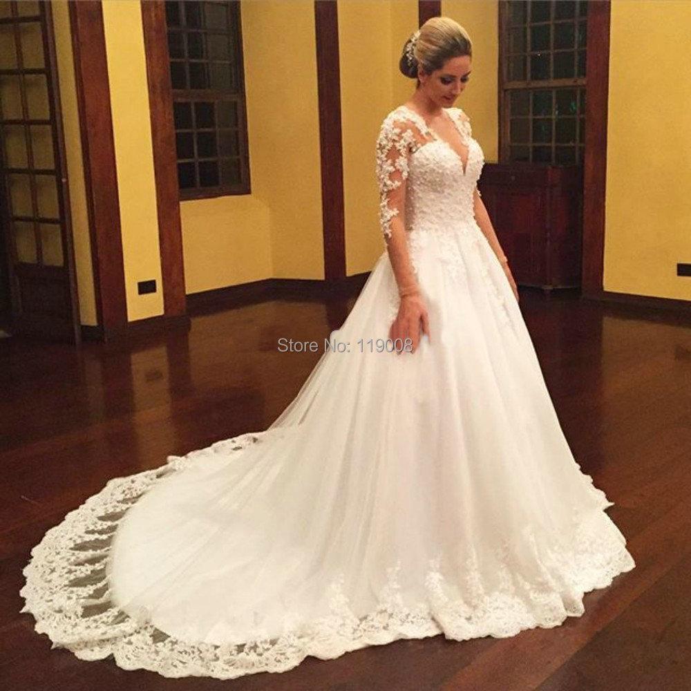 Vestidos de novia ball gown wedding dress 2016 bridal for V neck long sleeve wedding dress