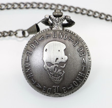 2015 New Antique Bronze Pirate Skull One Piece Quartz Retro Pocket Necklace Watch PB199(China (Mainland))
