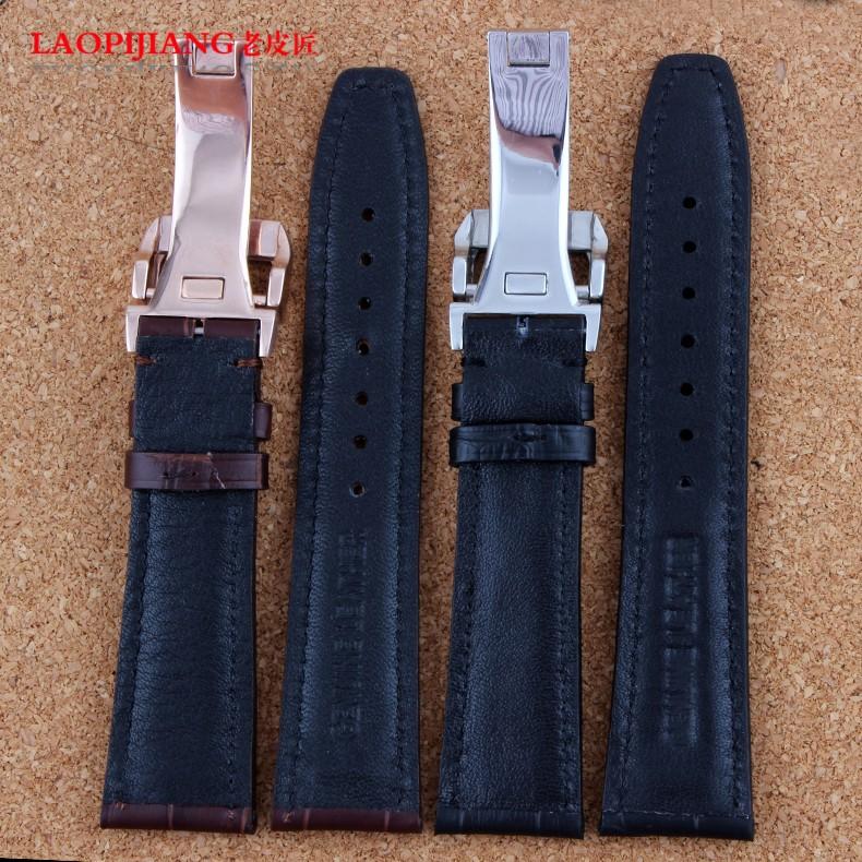 Laopijiang мужчины действительно кожаный ремешок для часов для пилота португалия мода часы аксессуары 20 / 21 / 22 мм