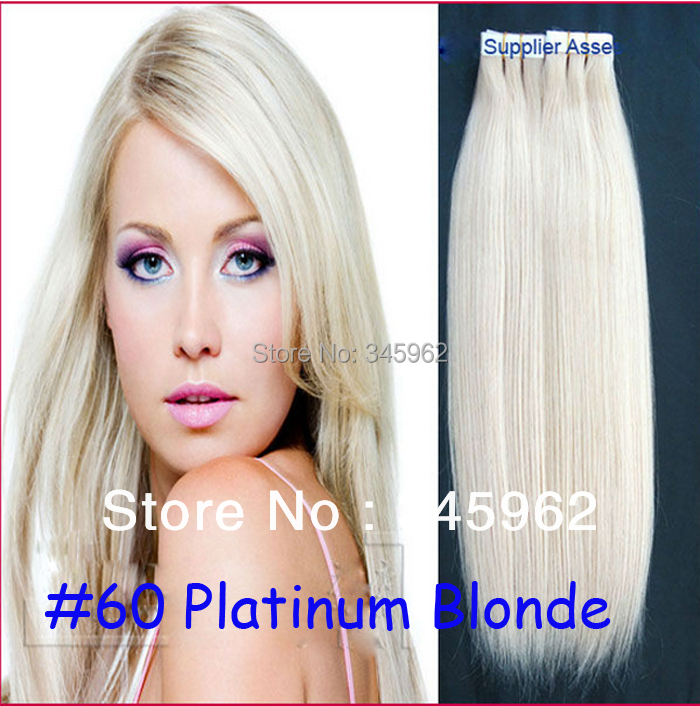 Cheap #60 Platinum Blonde Hair peruvian hair straight Skin Weft Tape Extensions 100g 40 piece 18 24 26 inch - sexy products wigs store