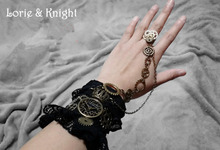 Women Black Lace Steampunk Hand Cuff Gloves with Gear Chain Ring