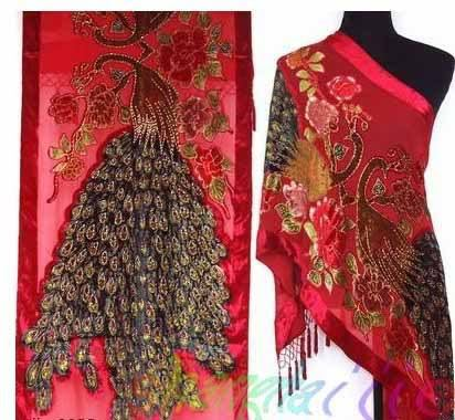 2015 Winter New Red Ladies' 100% Silk Pashmina Velvet Beaded Shawls Scarves Embroidery Tippet Flower Wrap Size 176 x 68cm WS006(China (Mainland))