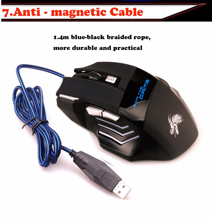 Professional 6D/7D Wired LED Optical Backlights USB Gaming Mouse Mice for PC Computer Laptop Games Gamer Game for Dota2 LOL