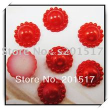 Round Flower Shape 1000pcs/lot 12mm Red Color Half Imitation Pearls Flat Back Pearls Great For Dress Shoes Scrap Booking Diy(Hong Kong)