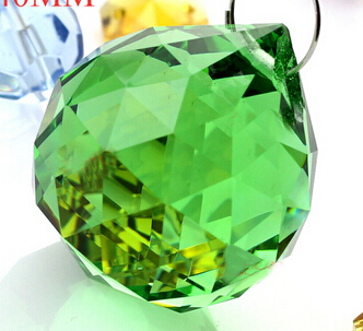 Free shipping 40pcs/lot , 40mm green color crystal prism ball suncatcher crystal chandelier ball and crystal lighting ball(China (Mainland))