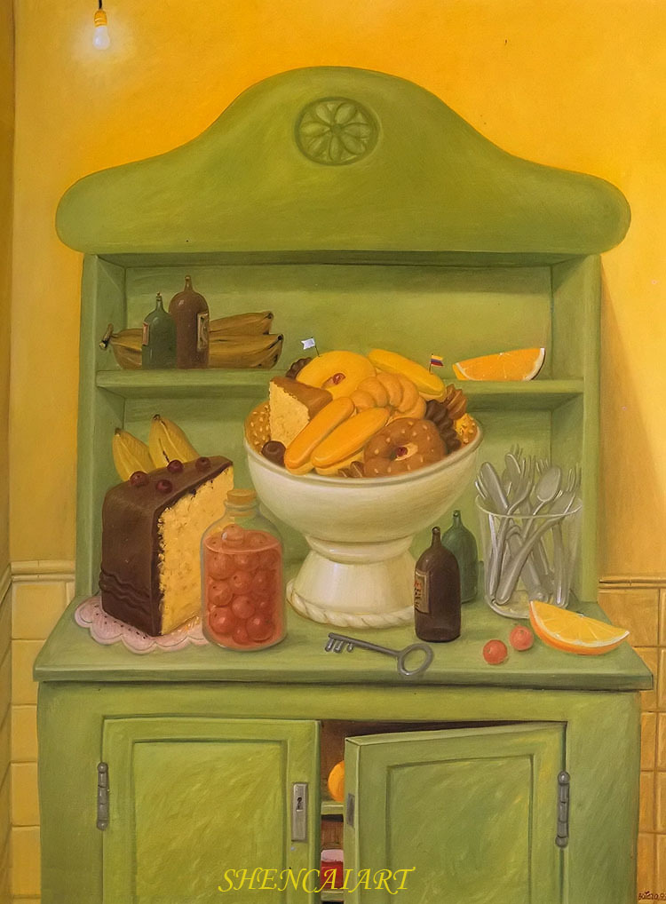 Fernando Botero Famous oil painting reproduction the buffet handmade modern Decorative Painting for dining hallfree shipping(China (Mainland))