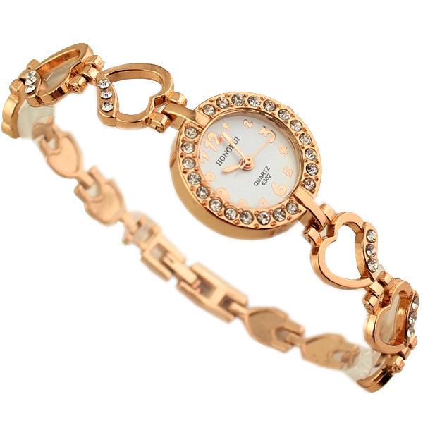 Fashion Sweet Heart Shape Gold Watches Women Full Rhinestone Bracelet  Watches Women Casual Quartz Watch Hot Relogio Clock<br><br>Aliexpress