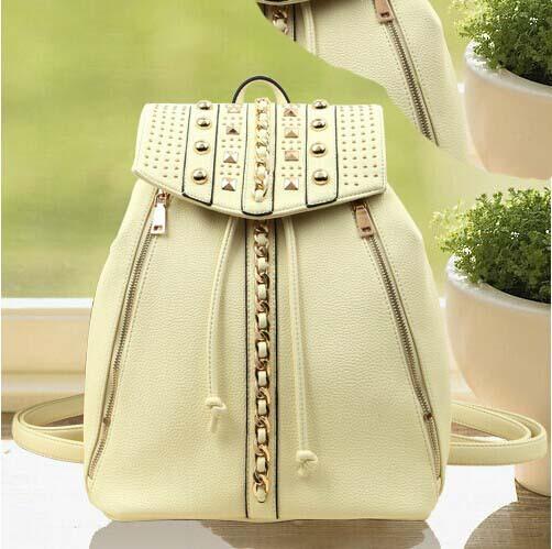 New Hot Shoulder bags European and American fashion Rivets handbags Laptop Rucksack sac a dos(China (Mainland))