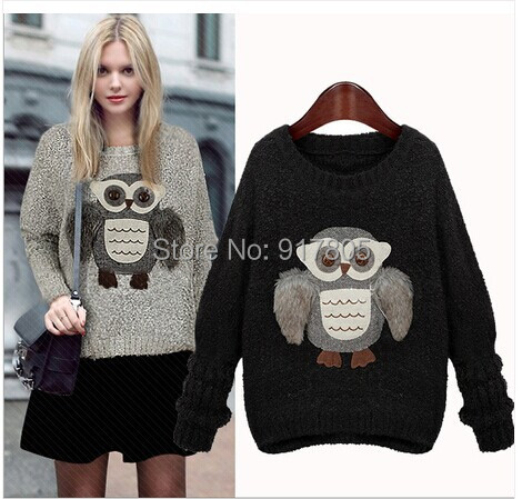 Europe Fashion New 2014 Autumn Winter Women Knitted Pullover O-Neck Design 3D Cartoon Owl Brand Warm Sweaters Black Gray - Sherry Fu's store