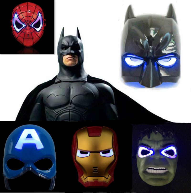 5pcs/lot Avengers Marvel Captain America Spiderman Hulk Iron man Batman LED Glowing superhero kid adult Halloween Party mask(China (Mainland))