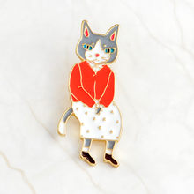 QIHE QH-DEI MONILI Pins e spille Coniglio/Fox/coppia Gatto dello smalto pin Badge Cappello Zaino Accessori gioielli Amanti Regalo per l'amante(China)