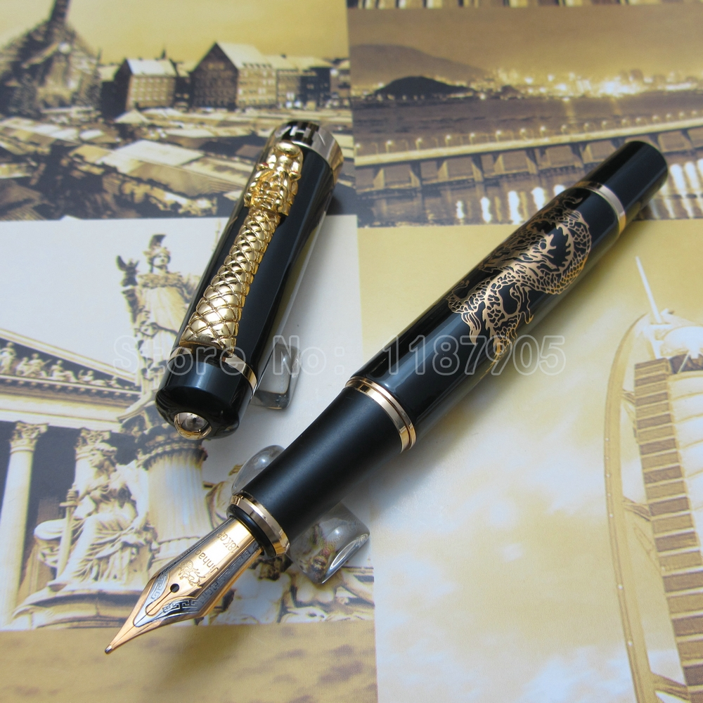 JINHAO Gold Surface DRAGON Clip Fountain Pen Silver Black gold White Bronze Brass Optional JH2219<br><br>Aliexpress