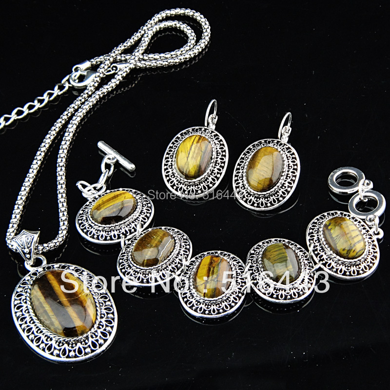 Freeshipping Antique Silver P Large Oval Natural Tiger Stones Earrings Bracelet Necklace Women Vintage Jewelry Set A-697 - Edna store