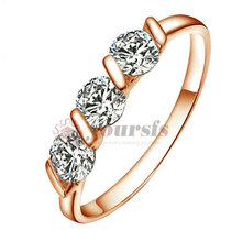 Wholesale Free Shipping  18K Rose GP Triple Austria Crystal Emulational Diamond Wedding Ring  R083R1