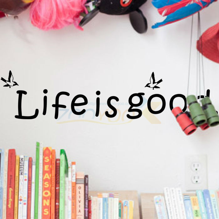life is good quotes wall decals zooyoo8174 living room decorations adesivo de parede vinyl wall stickers bedroom diy wall art(China (Mainland))
