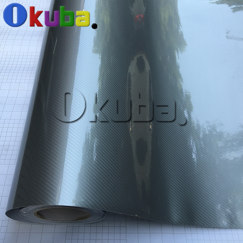 3 Layers Car Styling Ultra Gloss Silver Red Pink Silver 5D Carbon Fiber Vinyl Wrao Glossy Decal Cover Sticker Film 1.52*20m/roll(China (Mainland))