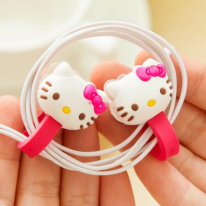 2pcs/set Hello Kitty Kawaii Earphone Cable Manage Winder /Cable Holder Organizer for MP3 MP4 Phone Accessories(China (Mainland))