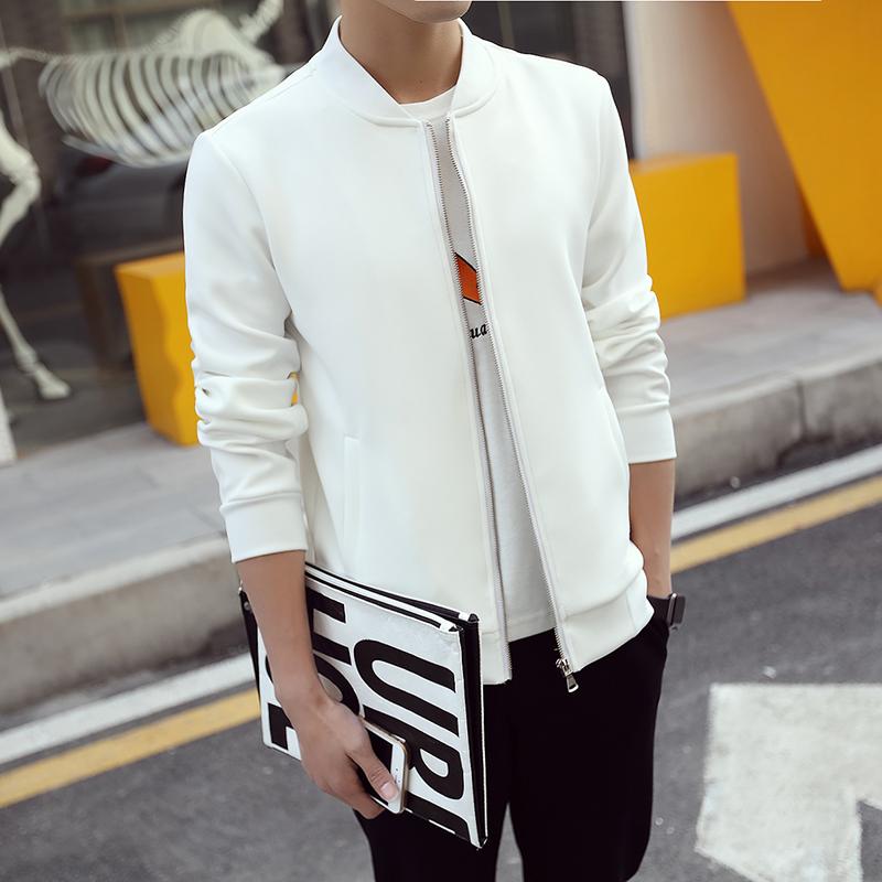 Korean Style Men's Jacket White Baseball Collar Fashion 2016 Coat Male Solid Slim Fit Mens Jackets and Coats Man jacket jaqueta(China (Mainland))